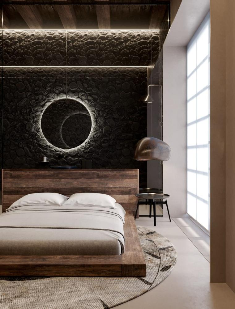 cosa mettere sopra il letto matrimoniale specchio illuminato parete ruvida como