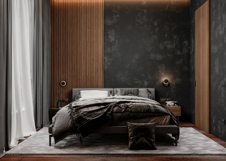 cosa mettere sul como della camera da letto moderna pareti pannelli legno tende tappeto