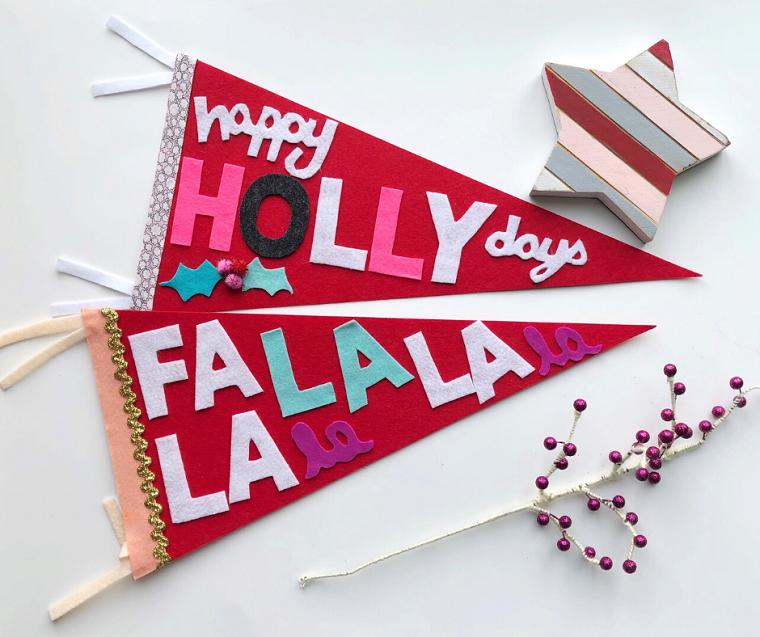 decorazioni natalizie esterne fai da te ghirlanda di carta decorata con lettere in feltro