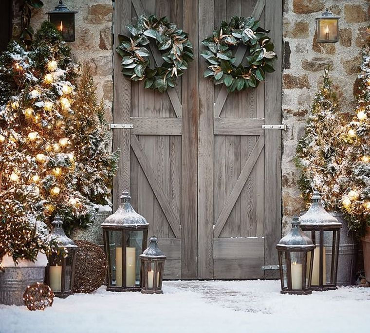 decorazioni natalizie ghirlande ingresso casa