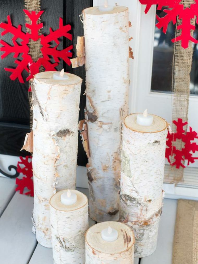 decorazioni natalizie portacandele fiocchi neve rosse