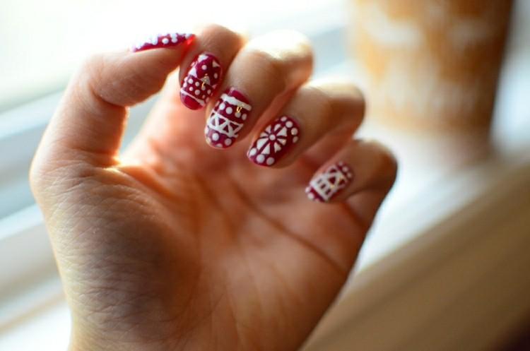 decorazioni natalizie unghie bianco rosso
