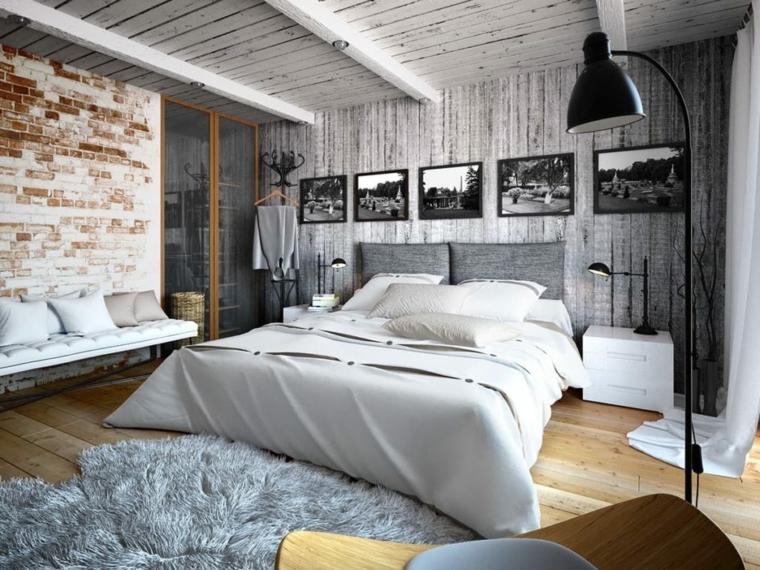 decorazioni per camera da letto cornici panchina pareti effetto pietra legno
