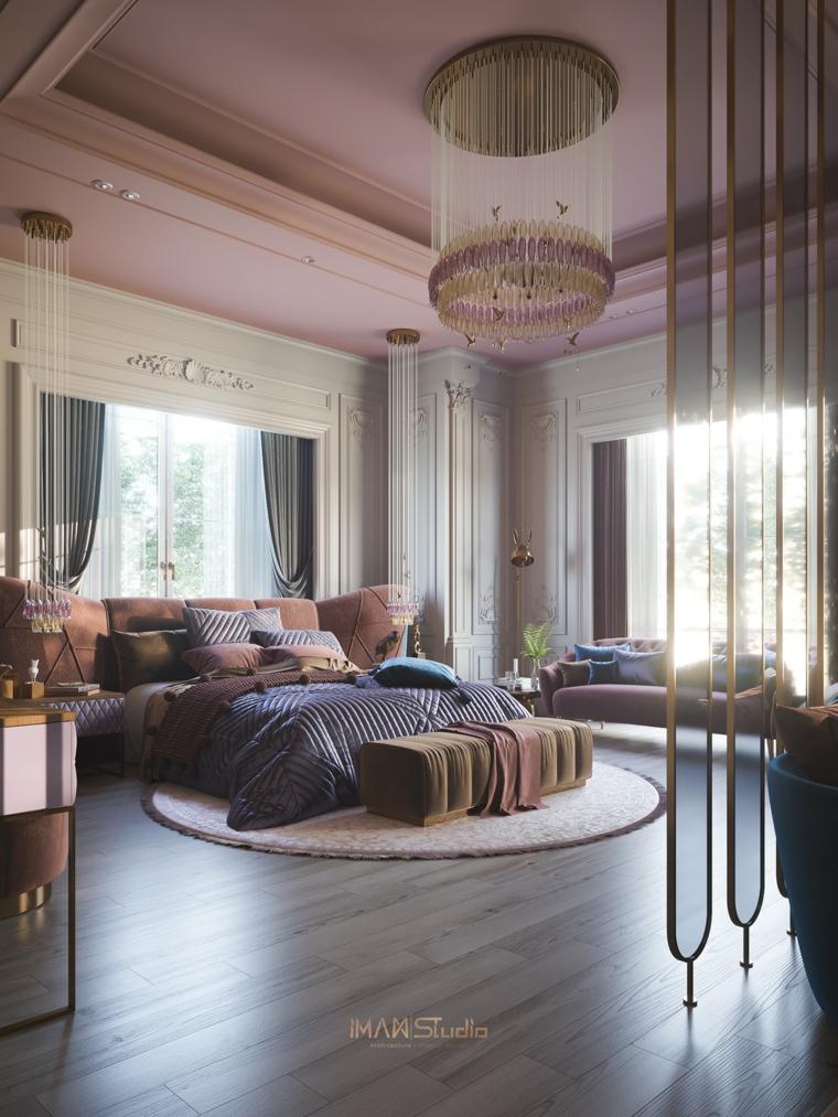decorazioni per camera da letto cuscini tende lampadario controsoffitto parete divisoria
