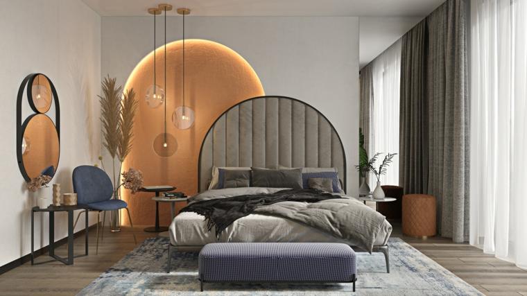 decorazioni per camera da letto testata divano specchio illuminazione vaso pianta