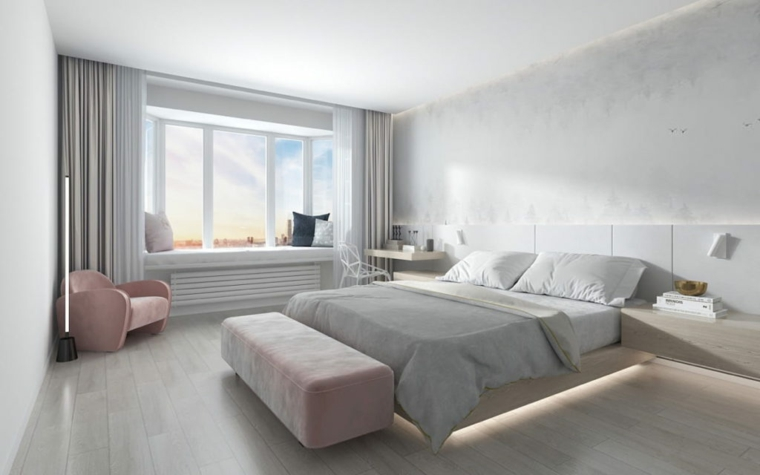 design camera da letto moderna comodino illuminazione finestra tende poltrona