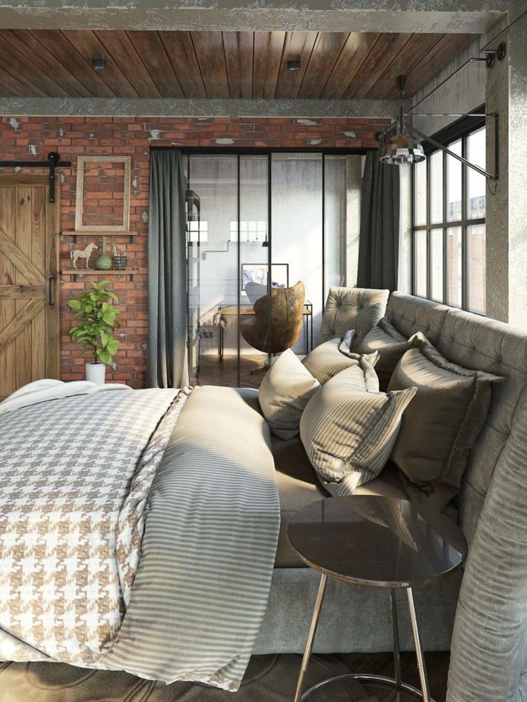 design camera da letto moderna parete effetto pietra comodino tavolino