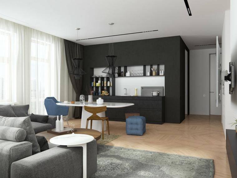 Mobili cucina colore nero, divano di colore grigio, tavolo da pranzo bianco, arredare cucina soggiorno open space