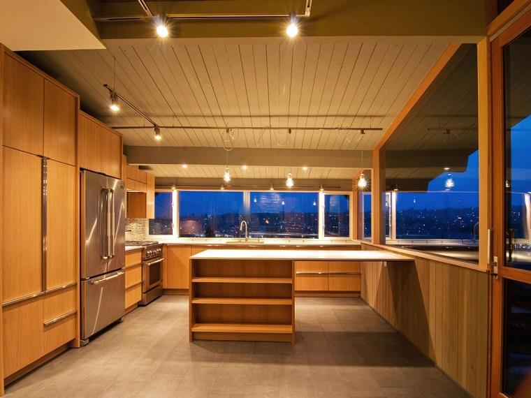 finestre architettura moderna cucina legno