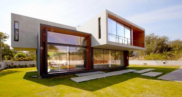 finestre architettura moderna villa bianca marrone