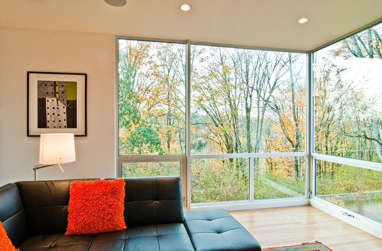 finestre moderne idea parete angolo soggiorno