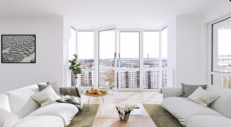 finestre moderne idea zona living arredamento bianco