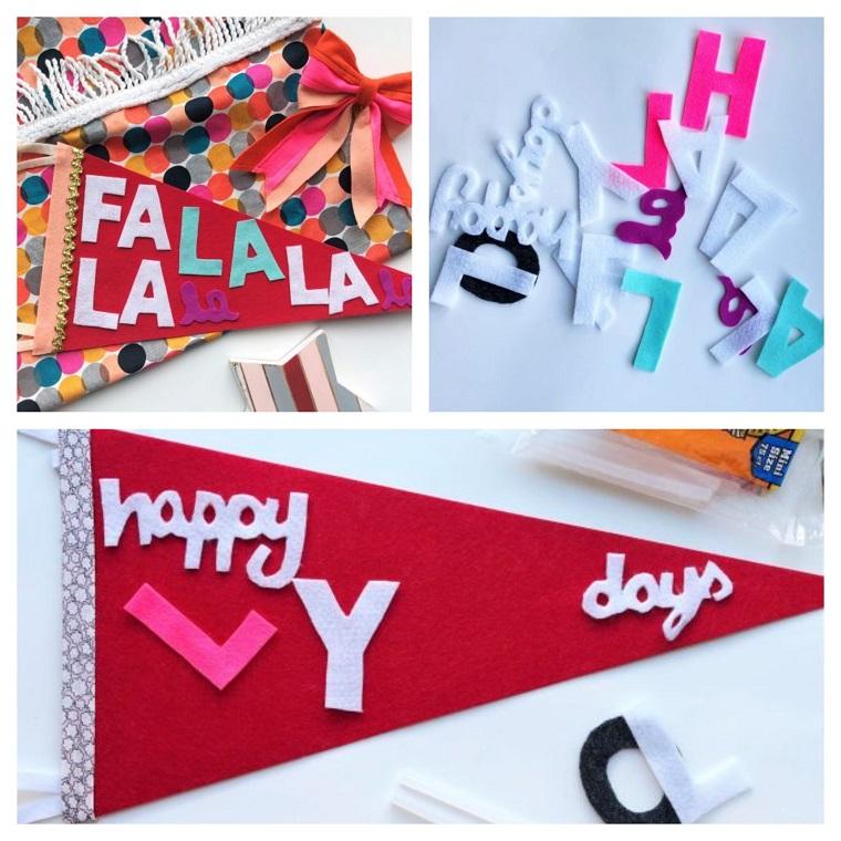 ghirlande natalizie per balconi scritta hollydays con lettere di feltro