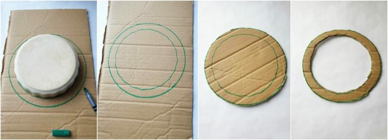 ghirlande natalizie per balconi tutorial con cartone disegno di un cerchio con pennarello verde