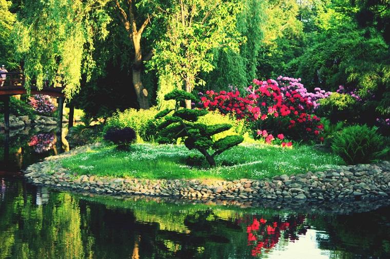 giardini zen verdi paesaggio favoloso piante fiorite