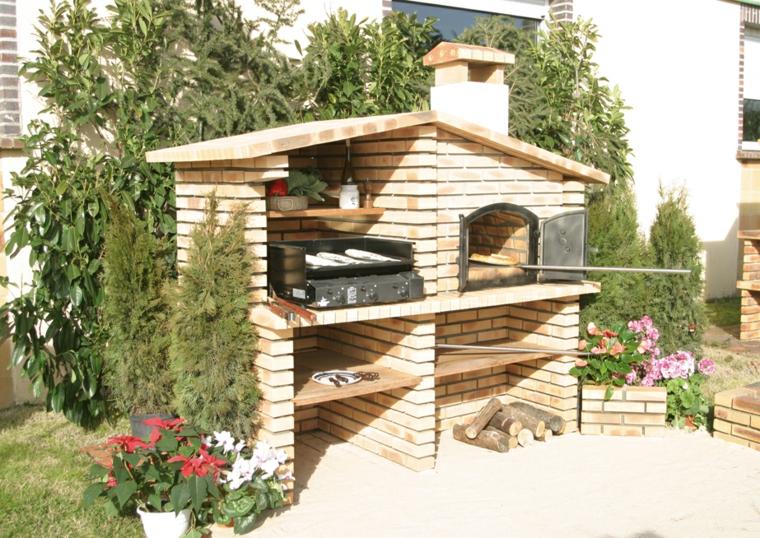 Giardino con barbecue a legna, barbecue con grigia e forno