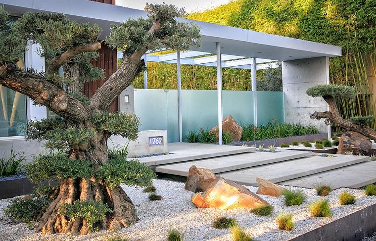 giardino stile zen rocce albero