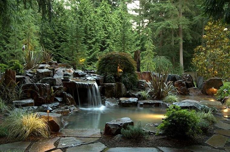 giochi d'acqua cascata giardino zen