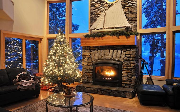 idea camino rivestito pietra decorazioni natalizie