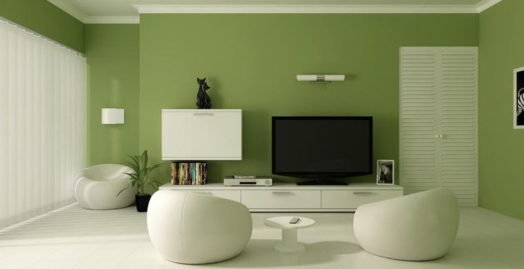 idea colore parete verde soggiorno moderno