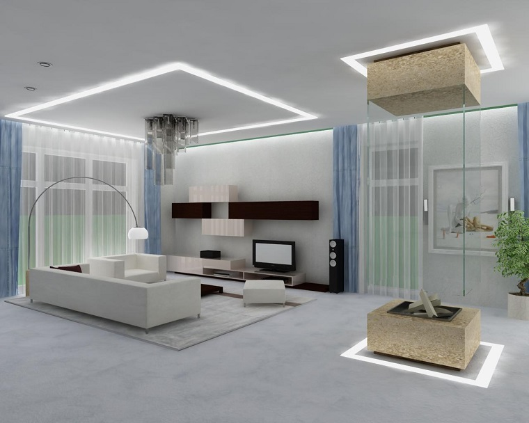 Idea Soggiorno Soffitto Bianco Illuminazione Led