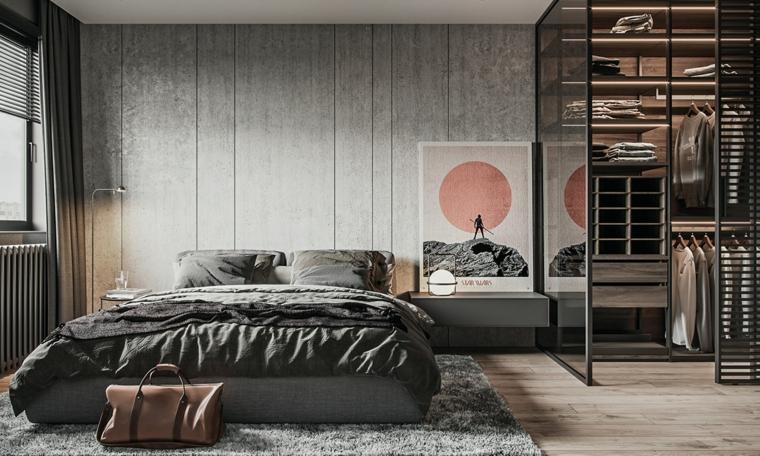 idee arredamento camera da letto armadio vista como sospeso cornice pannelli parete