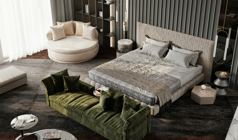 idee arredamento camera da letto divano tavolino parete pannelli lampade sospese