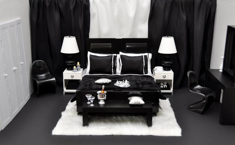 Idee arredo casa in bianco nero e grigio per uno stile - Mobili neri camera da letto ...
