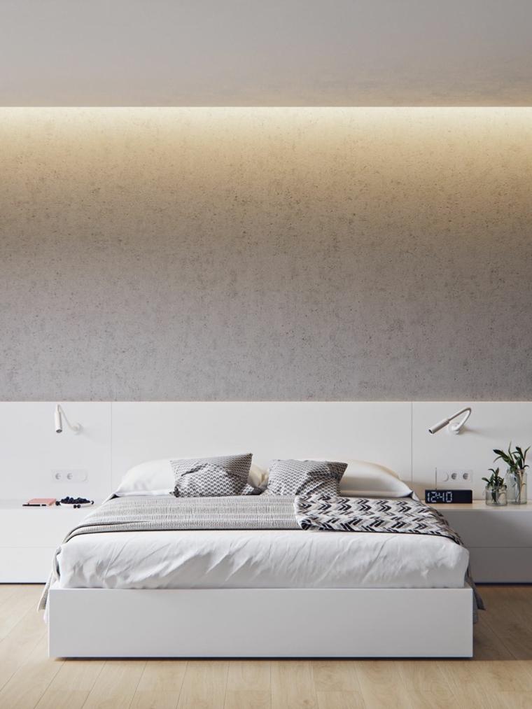 idee camera da letto piccola comodini lampade testata parete grigia