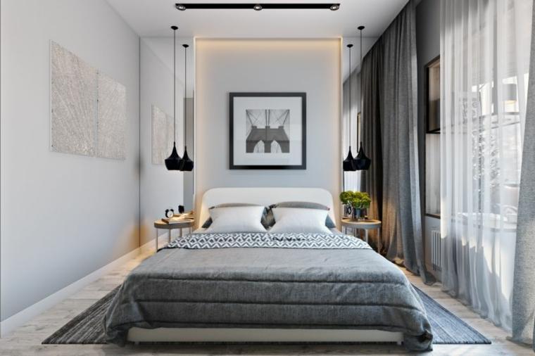 idee camera da letto piccola lampade cornice tende finestra como vaso fiori