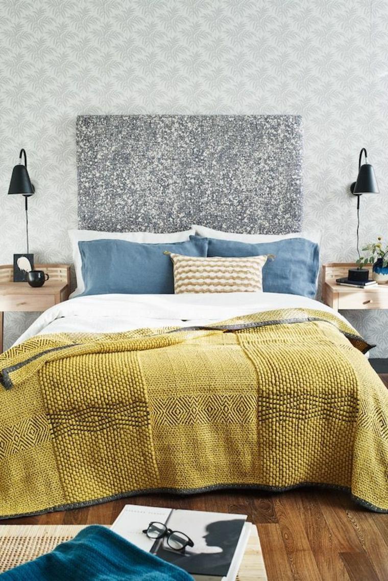 idee camera da letto piccola testata carta da parati parete como lampade sospese