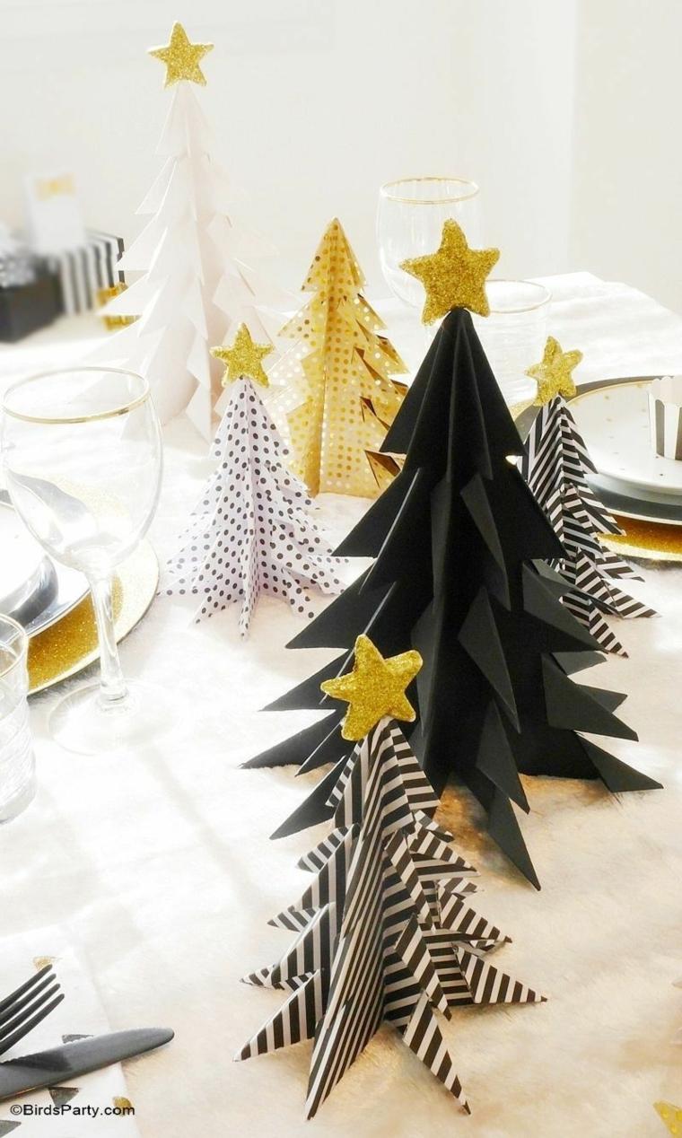 idee per addobbi natalizi esterni alberelli di carta con stella in cima