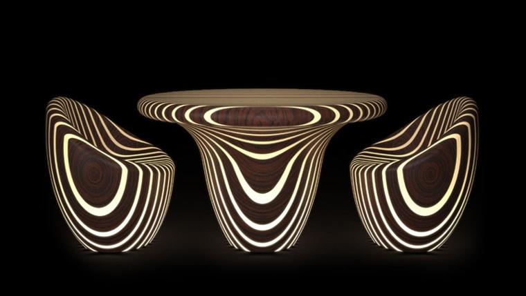 illuminazione moderna set tavolo sedie legno