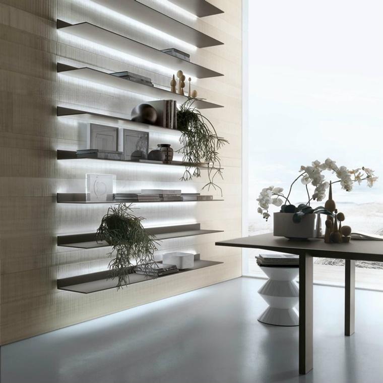 illuminazione moderna soggiorno lucine mensole