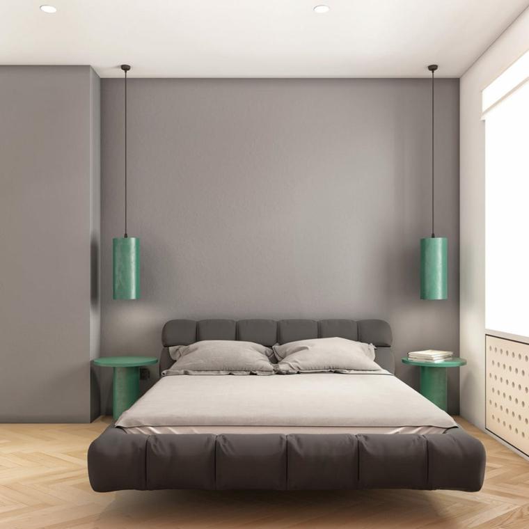 immagini camere da letto moderne comodini tavolini lampade sospese pavimento parquet