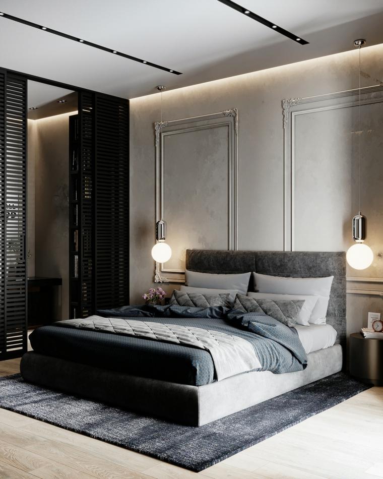 immagini camere da letto moderne lampade sospese como tappeto pareti