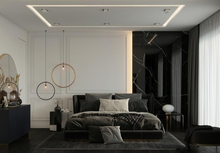 lampade anelli pannelli legno parete stanza da letto moderna cuscini specchio finestra tende