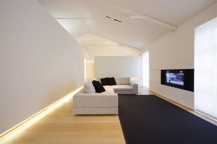 loft pavimento laminato colore chiaro luci led