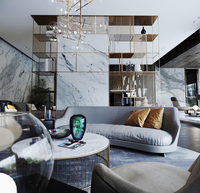 Parete divisoria sala e soggiorno, divano grigio angolare, tavolino in marmo, open space