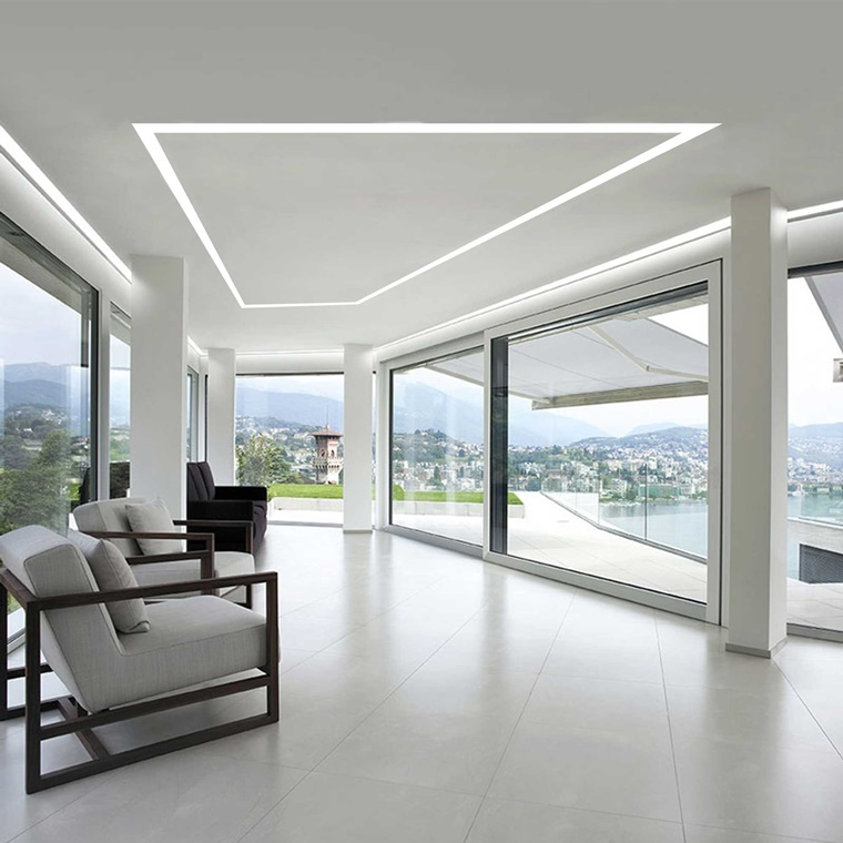 luce led soffitto forma geometrica