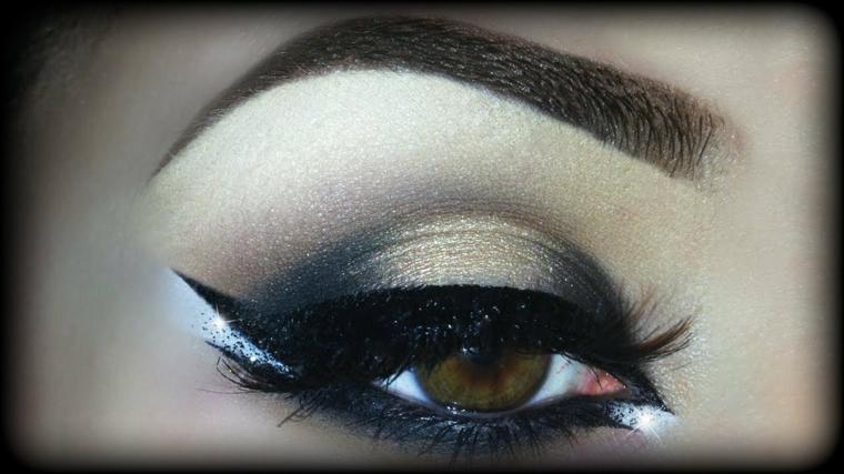 make up capodanno glitter oro nero