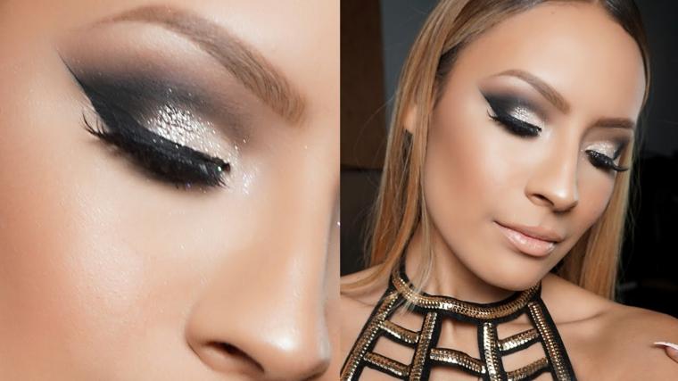 make up luminoso sguardo glitter argento