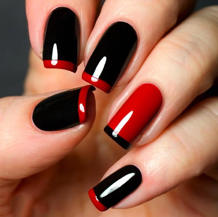 manicure francese natalizia rosso nero