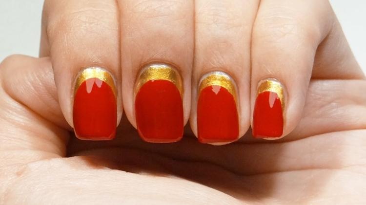 manicure inversa color rosso oro