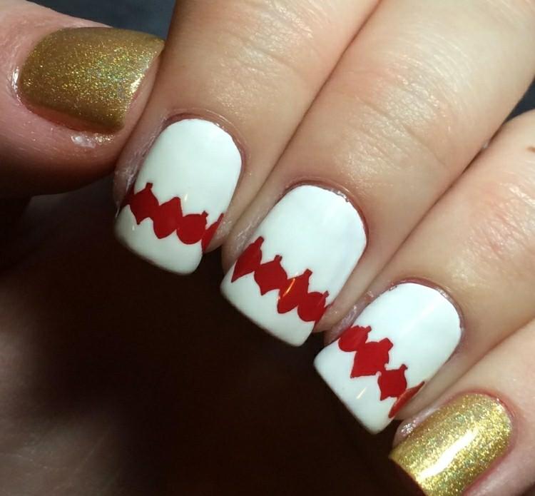 manicure natalizia bianco rosso oro