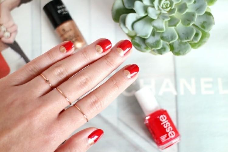 manicure natalizia inversa rosso oro
