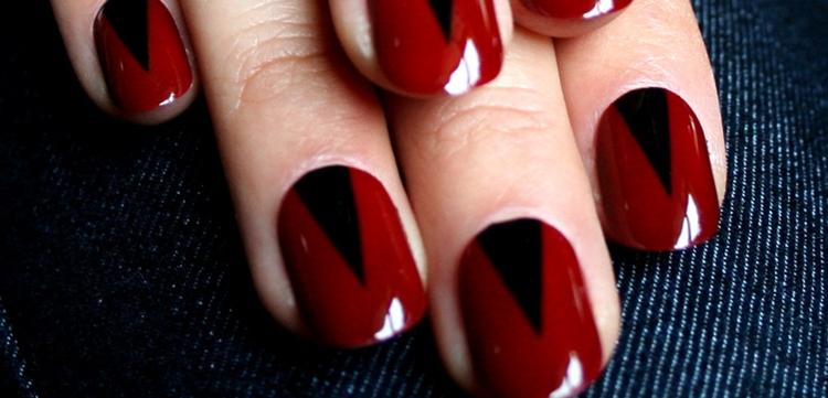 manicure originale color rosso nero
