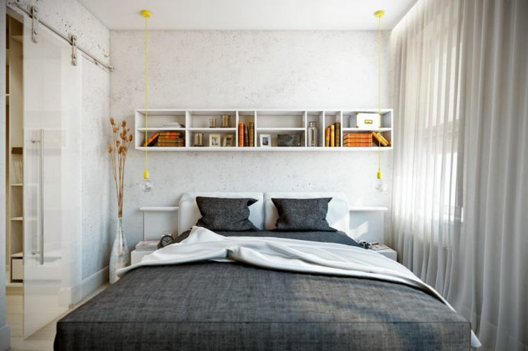 mensole sopra letto matrimoniale scaffali libri cuscini armadio tende finestra zona notte