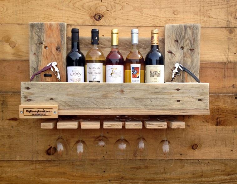 mobili pallet mensola conservare vino