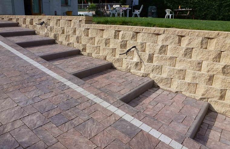 muro sostegno realizzato blocchi stabili